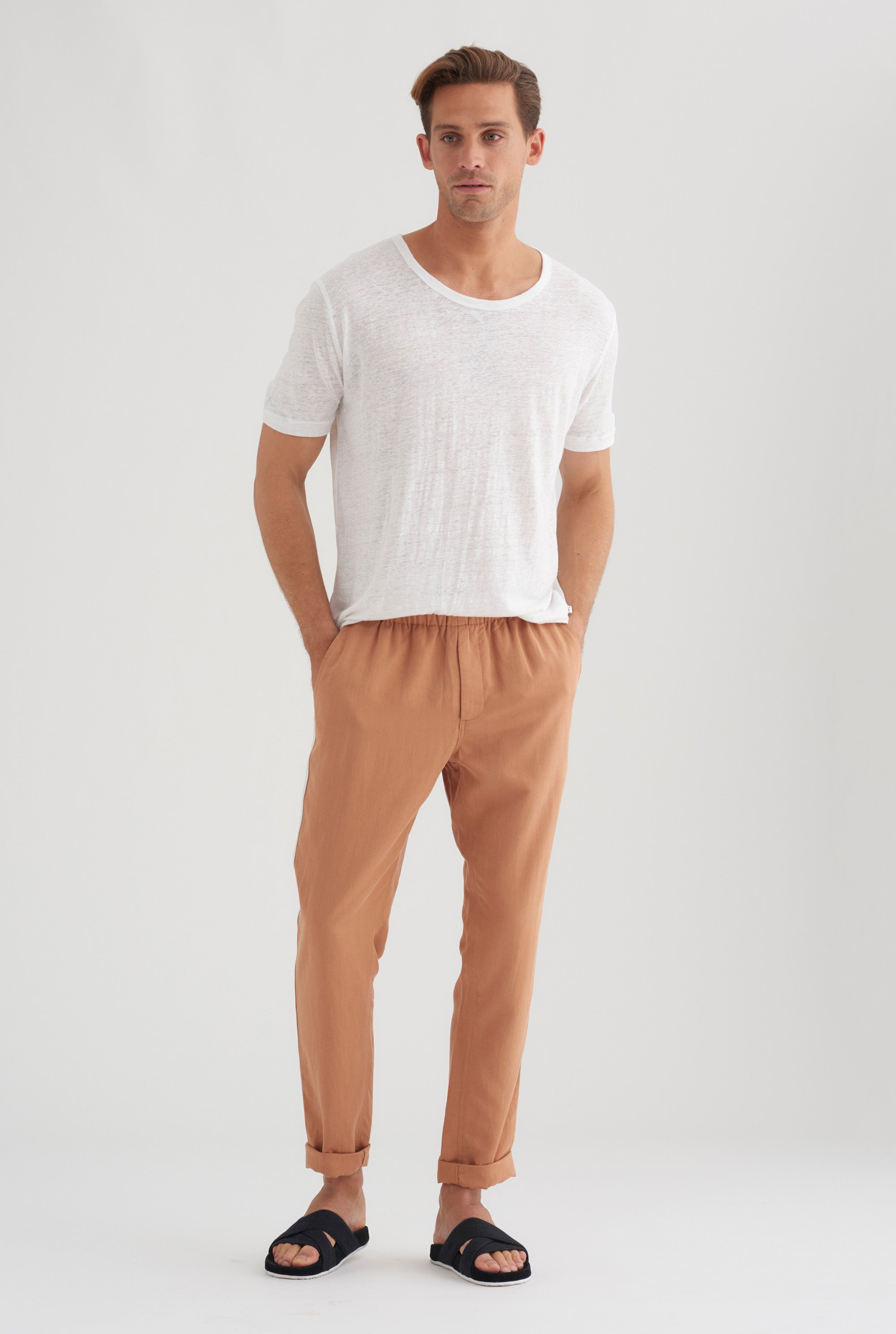Tencel Lounge Chino - Biscuit / White Stripe