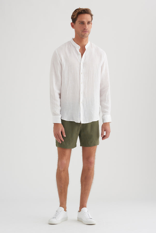 Grandad Collar Shirt - White