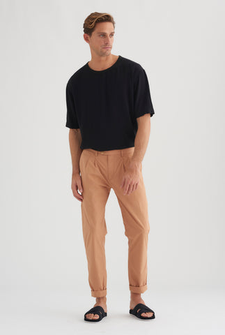 Poplin Pleat Chino - Biscuit