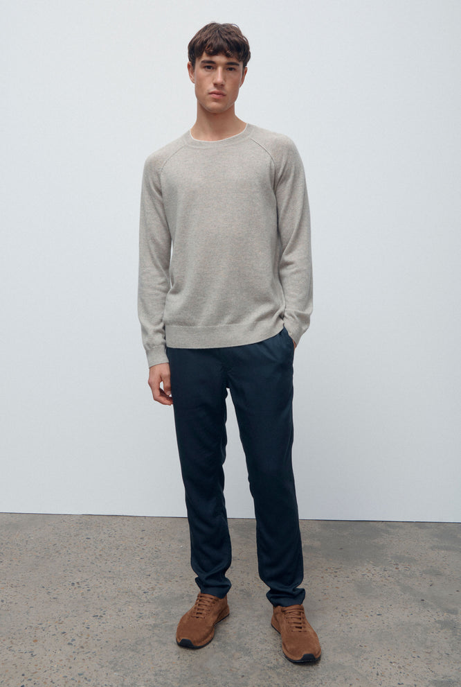 Exposed Seam Cashmere Sweater - Sand Marl