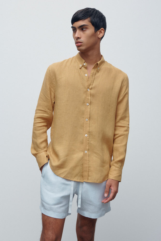 Linen Shirt - Taupe/White Colour Block