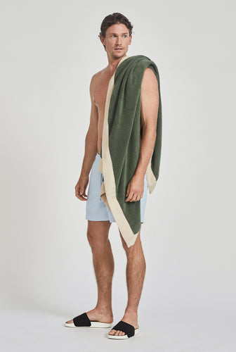 Woven Terry Border Towel - Bottle Green/Oat