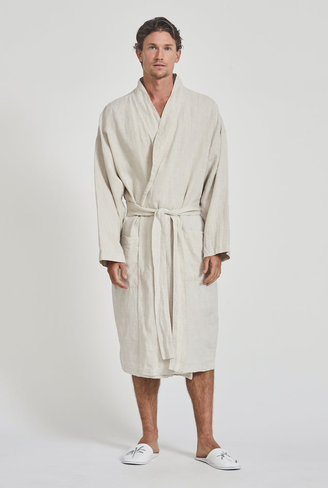 Linen Robe - Two Tone Stripe