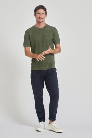 Knitted Pique Stripe T-Shirt - Signature Green