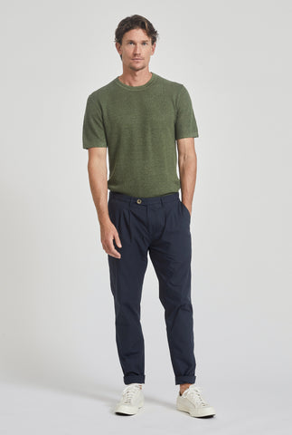 Poplin Pleat Chino - Navy