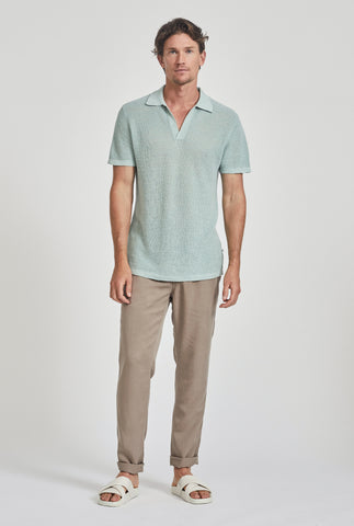 Rib Knit Open Neck Polo - Aqua
