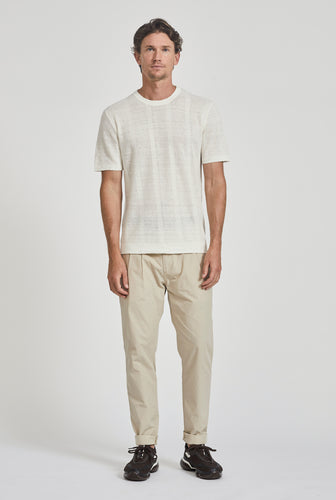 Knitted Pique Stripe T-Shirt - Off White