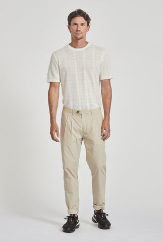 Poplin Pleated Chino - Oat