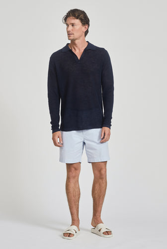 Long Sleeve Rib Knit Open Neck Polo - Navy
