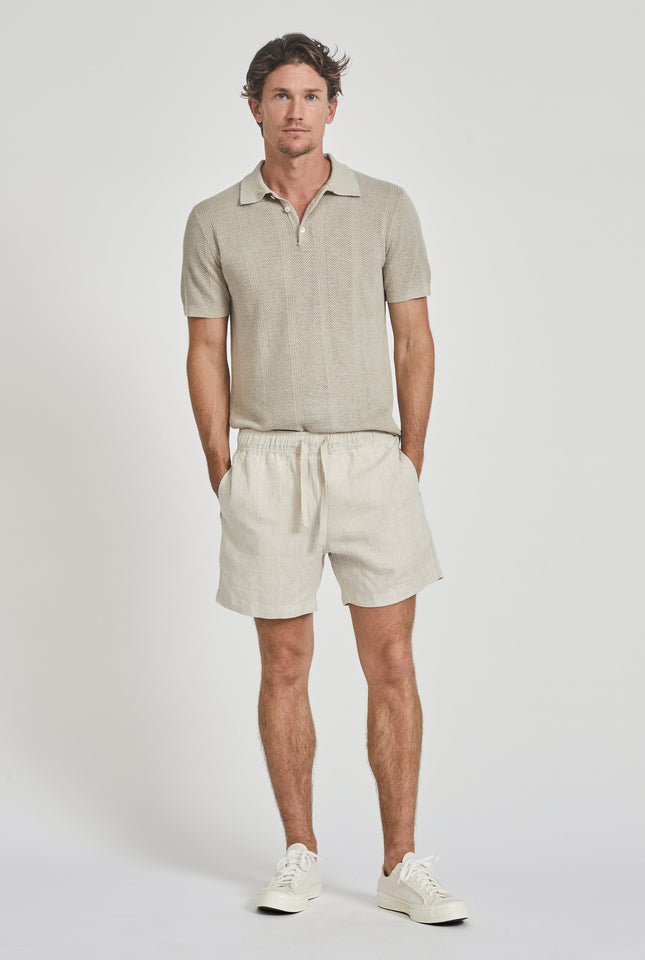 Knitted Pique Stripe Polo - Taupe