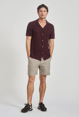 Short Sleeve Knitted Pique Stripe Shirt - Burgundy