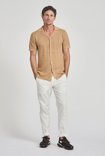 Short Sleeve Knitted Pique Stripe Shirt - Camel