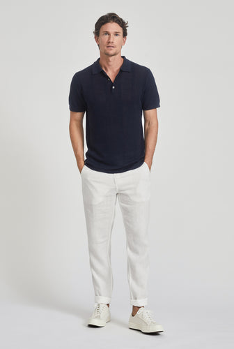 Knitted Pique Stripe Polo - Navy