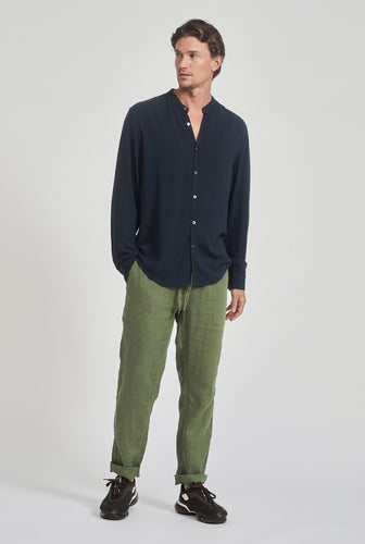 Tencel Grandad Collar Shirt - Navy