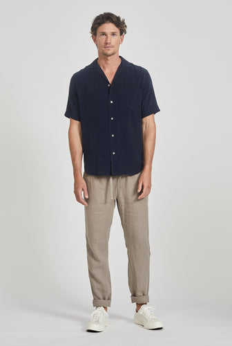 Short Sleeve Silk Camp Collar Shirt - Navy