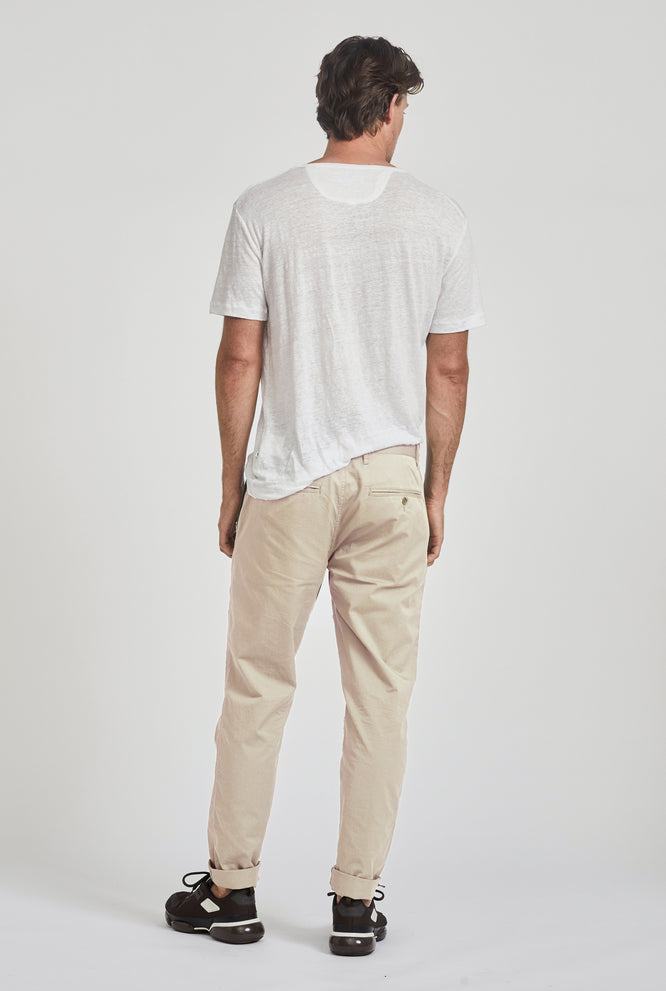 Square Tab Summer Chino - Light Stone