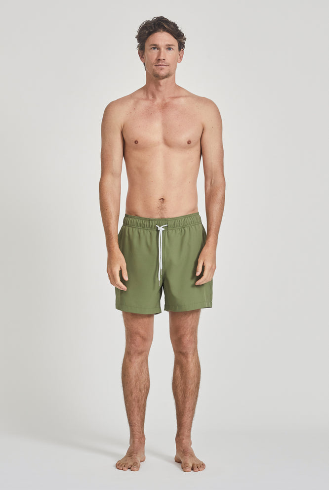 Stretch Swim Short - Light Grey White Stripe