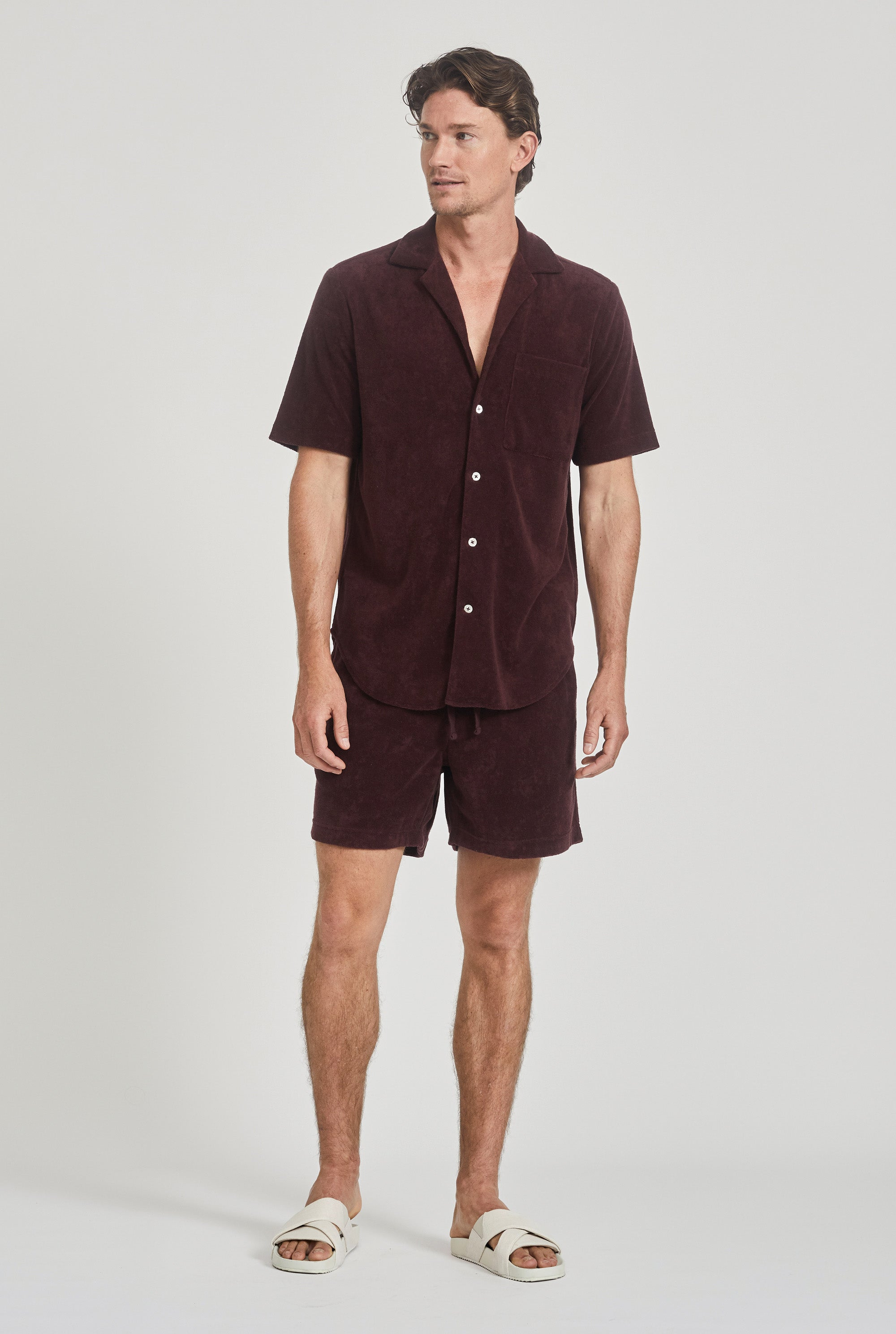Terry Camp Collar Shirt - Burgundy