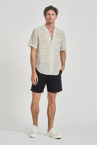 Short Sleeve Silk Camp Collar Shirt - Pool Print
