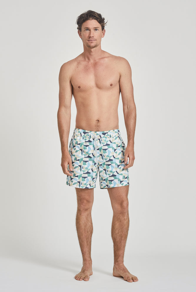 Swim Short - Light Blue Tile Print
