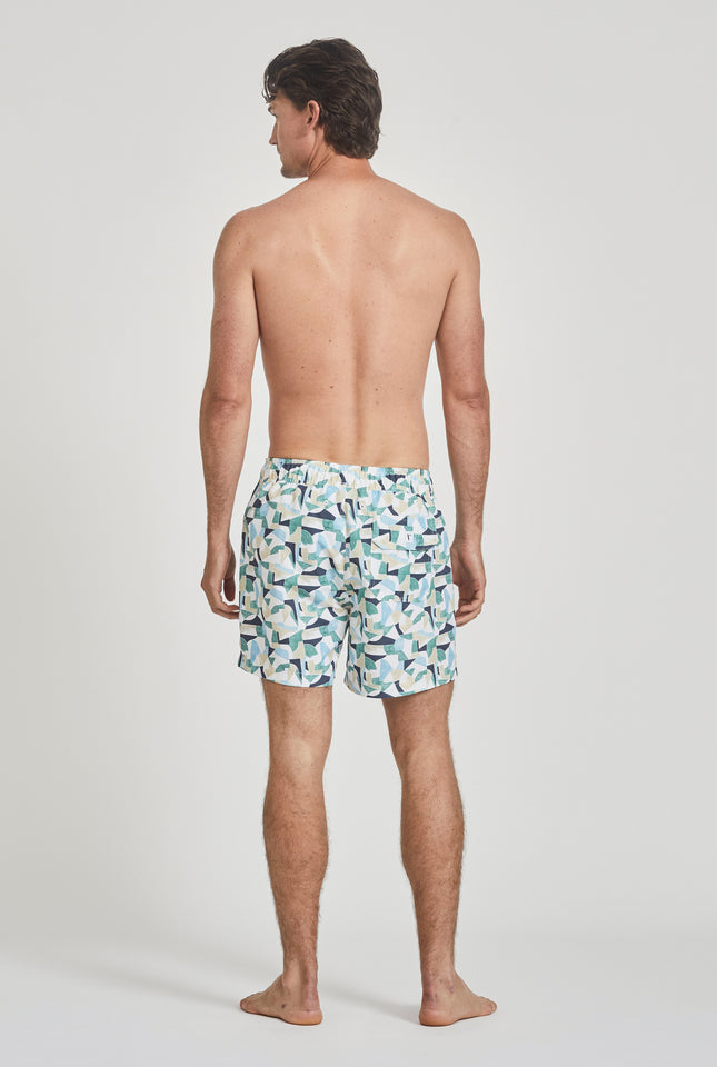 Printed Swim Short - Green Puzzle Print