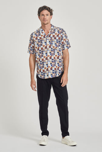 Short Sleeve Silk Camp Collar Shirt - Moon Print