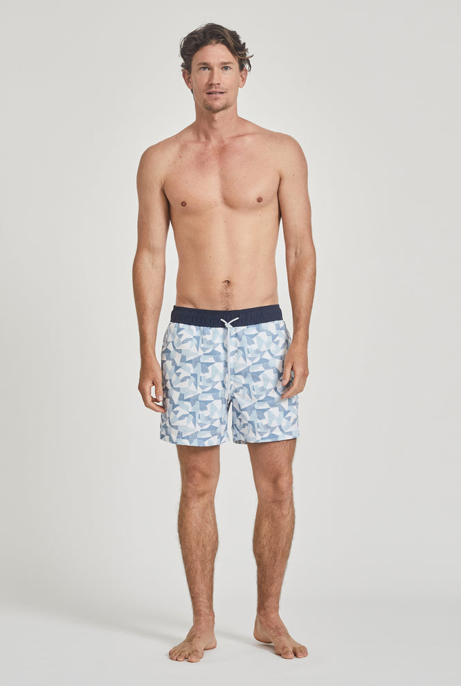 Striped Swim Short - Navy/White Stripe