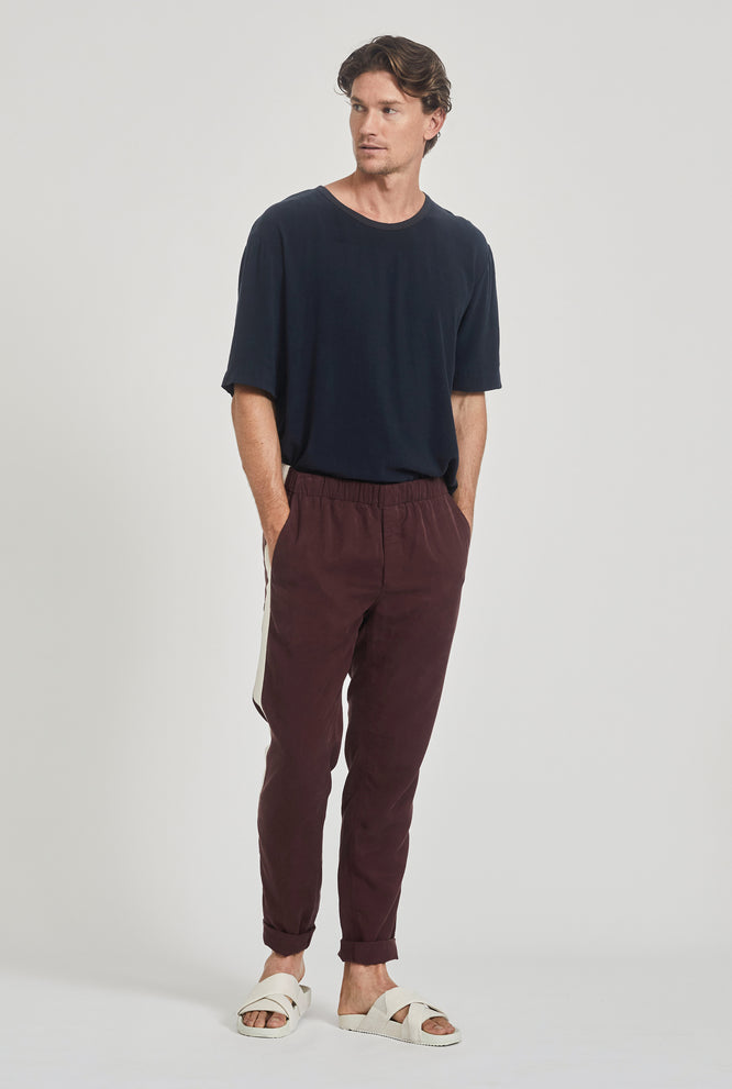 Tencel Lounge Chino - Burgundy/Grosgrain Stripe