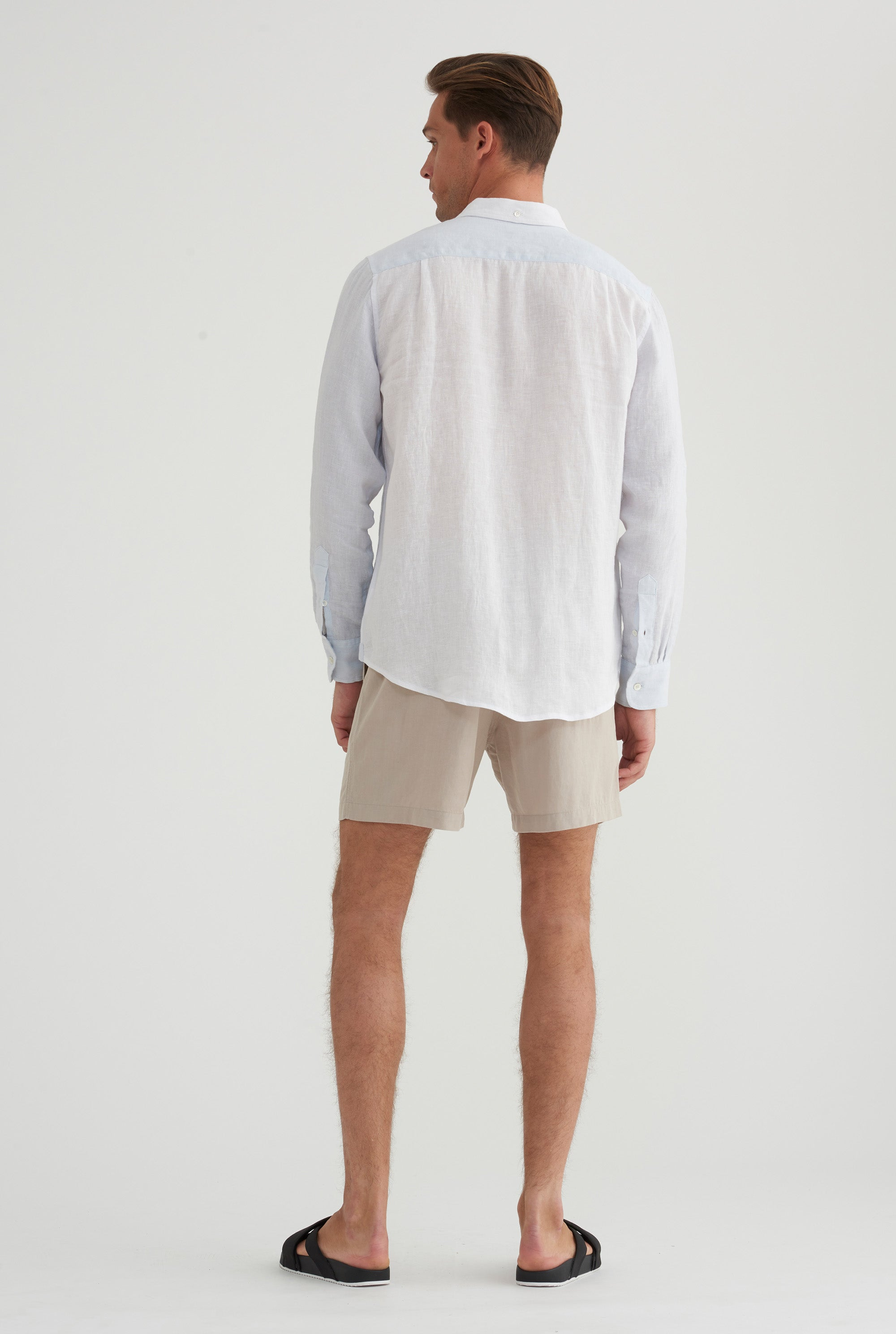 Linen Shirt - Light Blue/White Colour Block