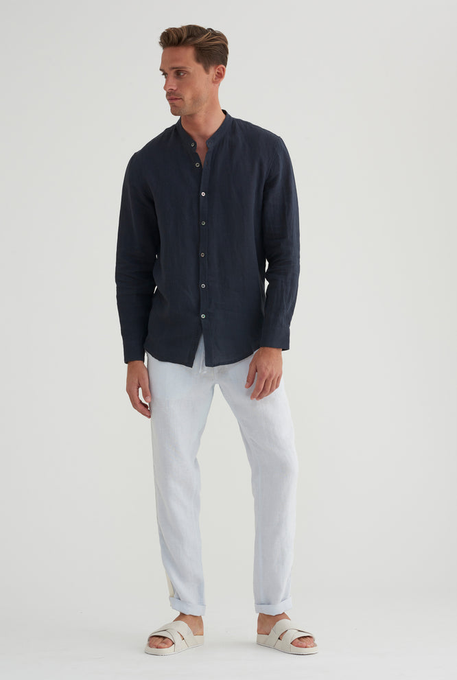 Grandad Collar Shirt - Summer Stripe