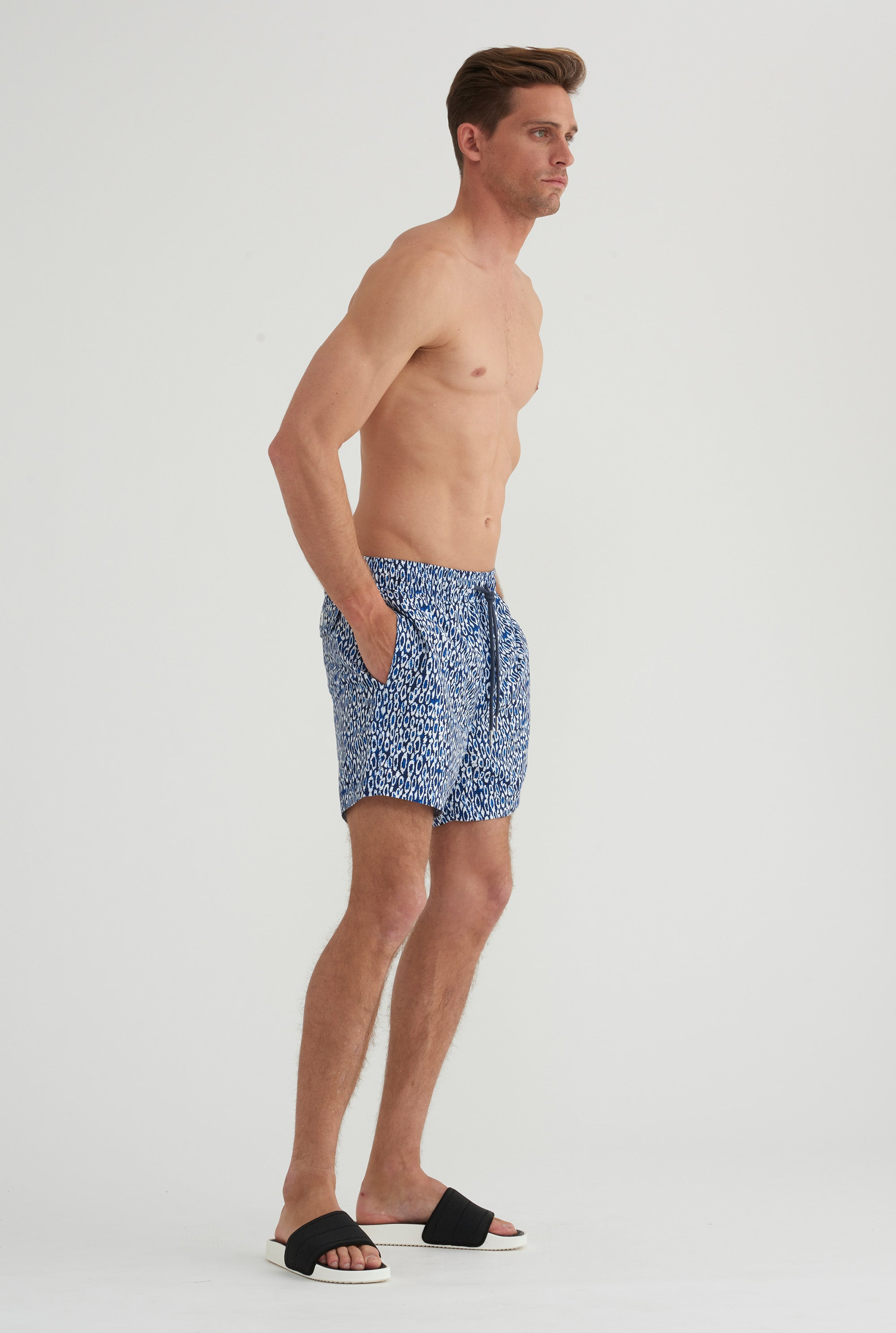 Swim Short - Navy Cheetah Print
