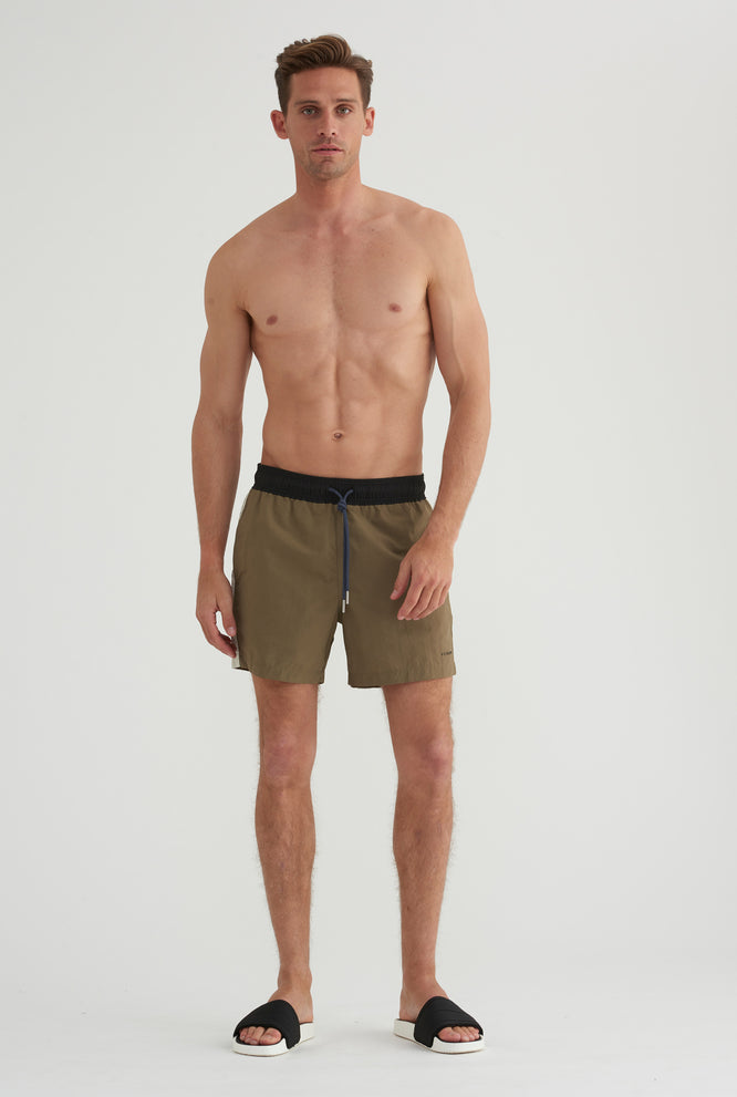 Nylon Swim Short - Clay/Black Band/Beige Stripe