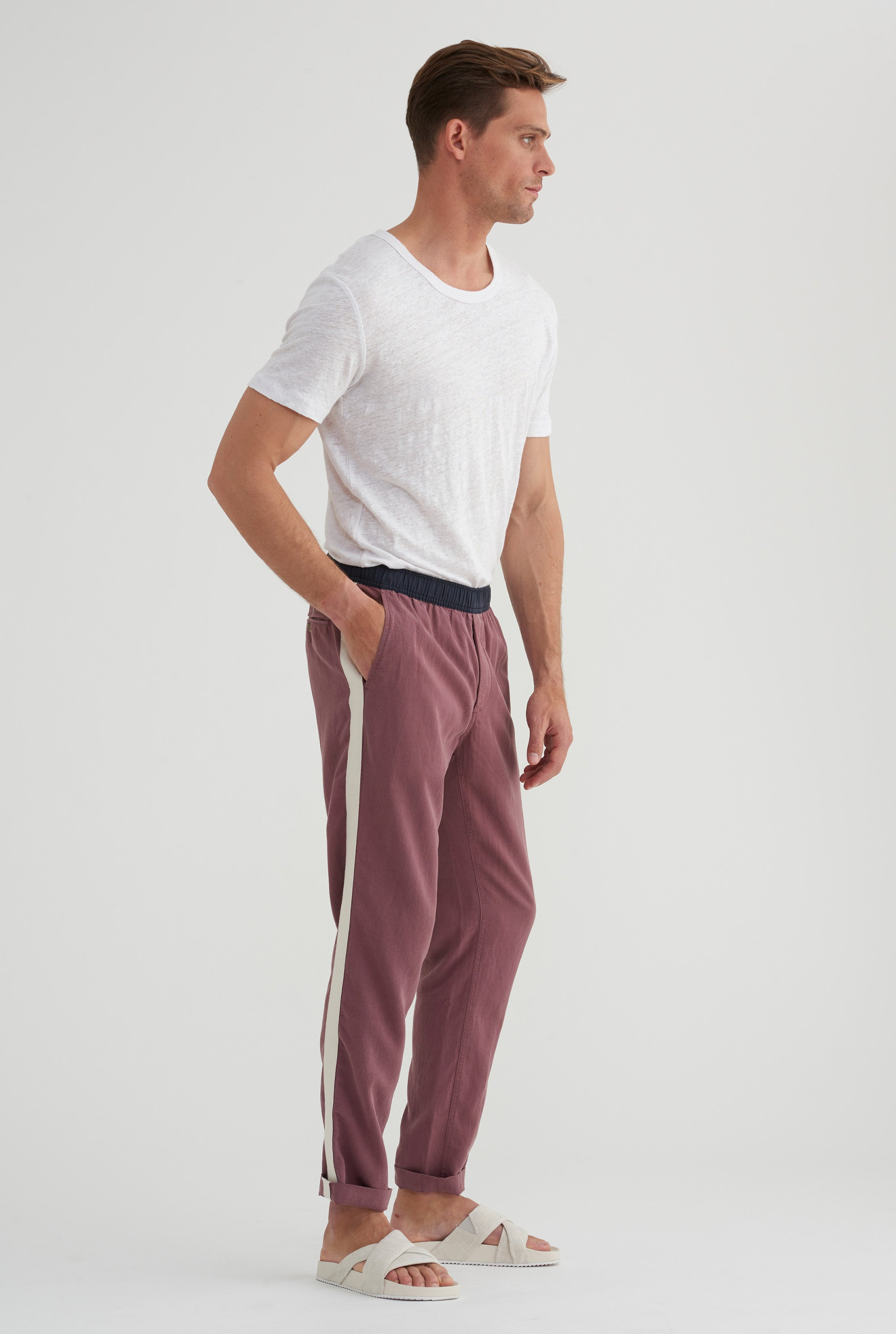 Tencel Lounge Chino - Burgundy/Navy Colour Block