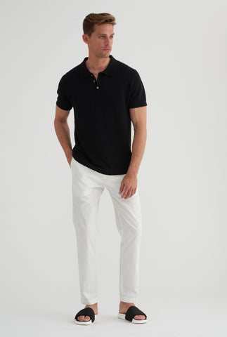 Pique Knitted Polo - Black