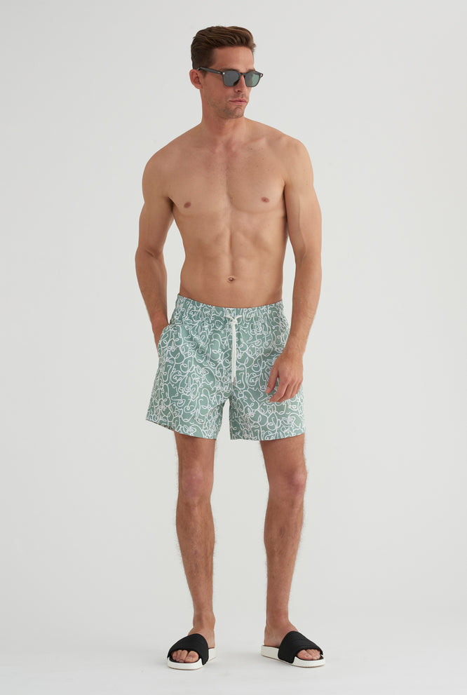Swim Short - Olive Full Solid