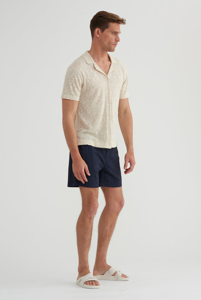 Short Sleeve Knitted Camp Collar Shirt - Sand