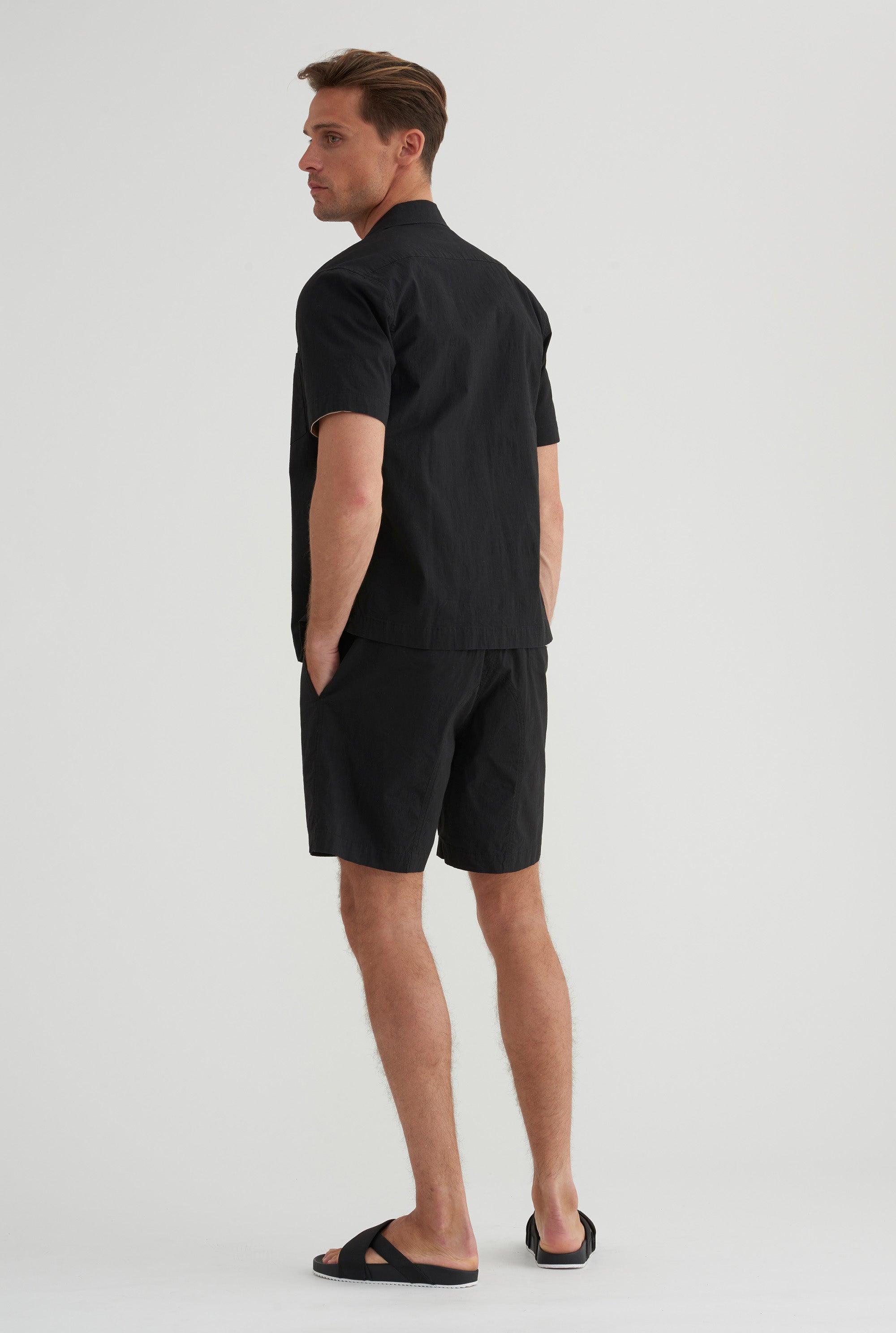 Short Sleeve Zip Shirt - Black