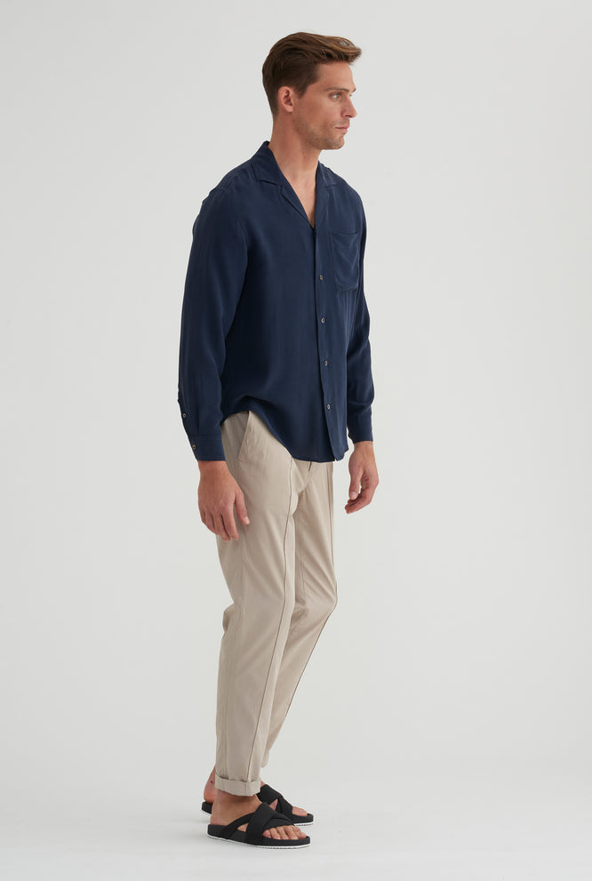 Long Sleeve Silk Camp Collar Shirt - Navy