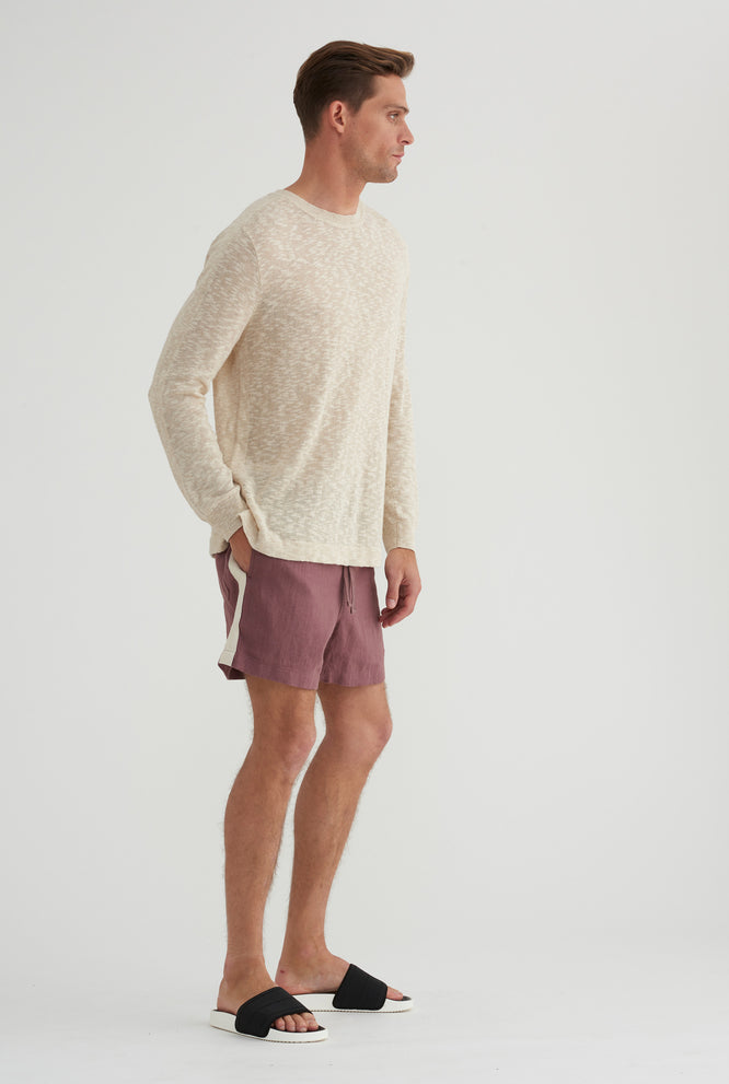 Long Sleeve Knitted T-Shirt - Sand