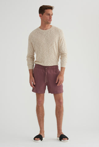 Lounge Short - Burgundy/White Colour Block