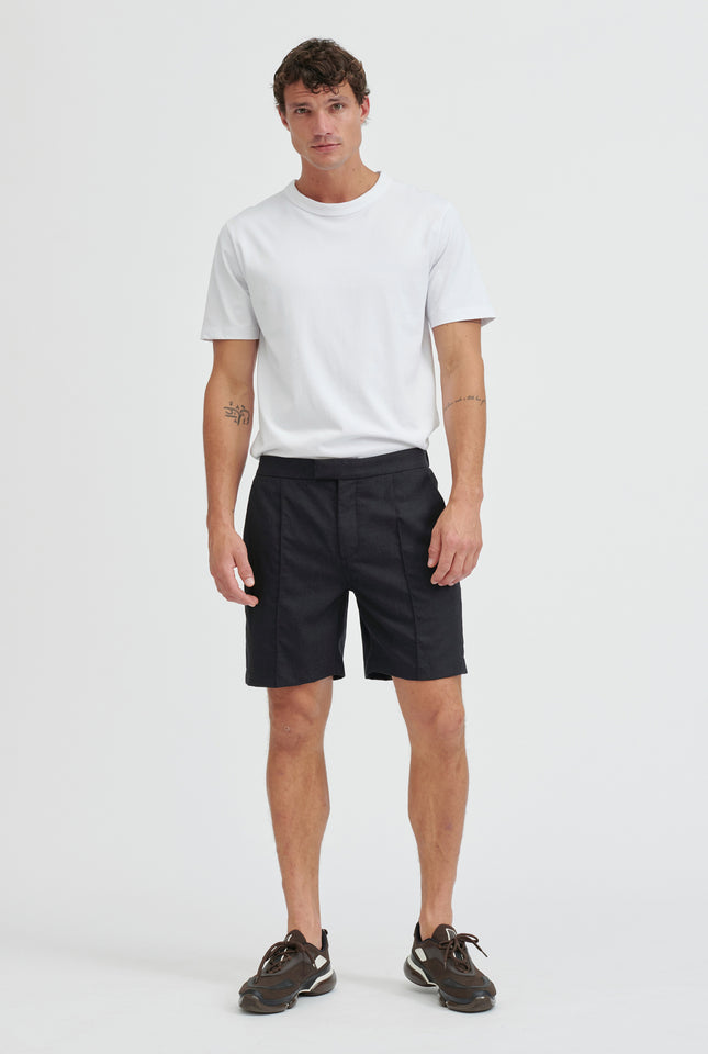 Wool Pin Stitch Pleated Short - Dark Charcoal