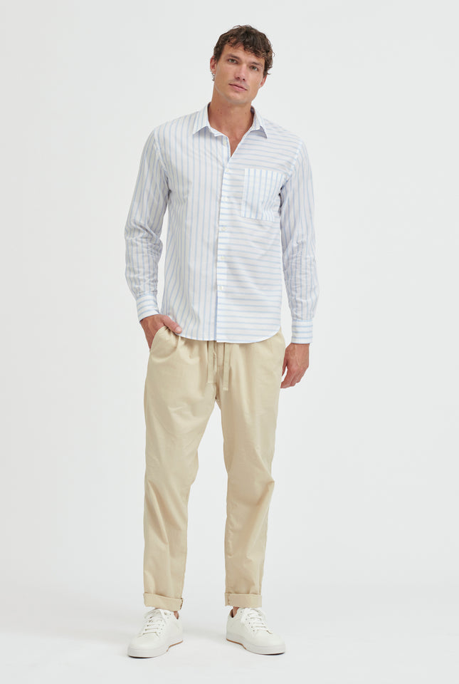 Cotton Stripe Shirt - White/Light Blue Stripe