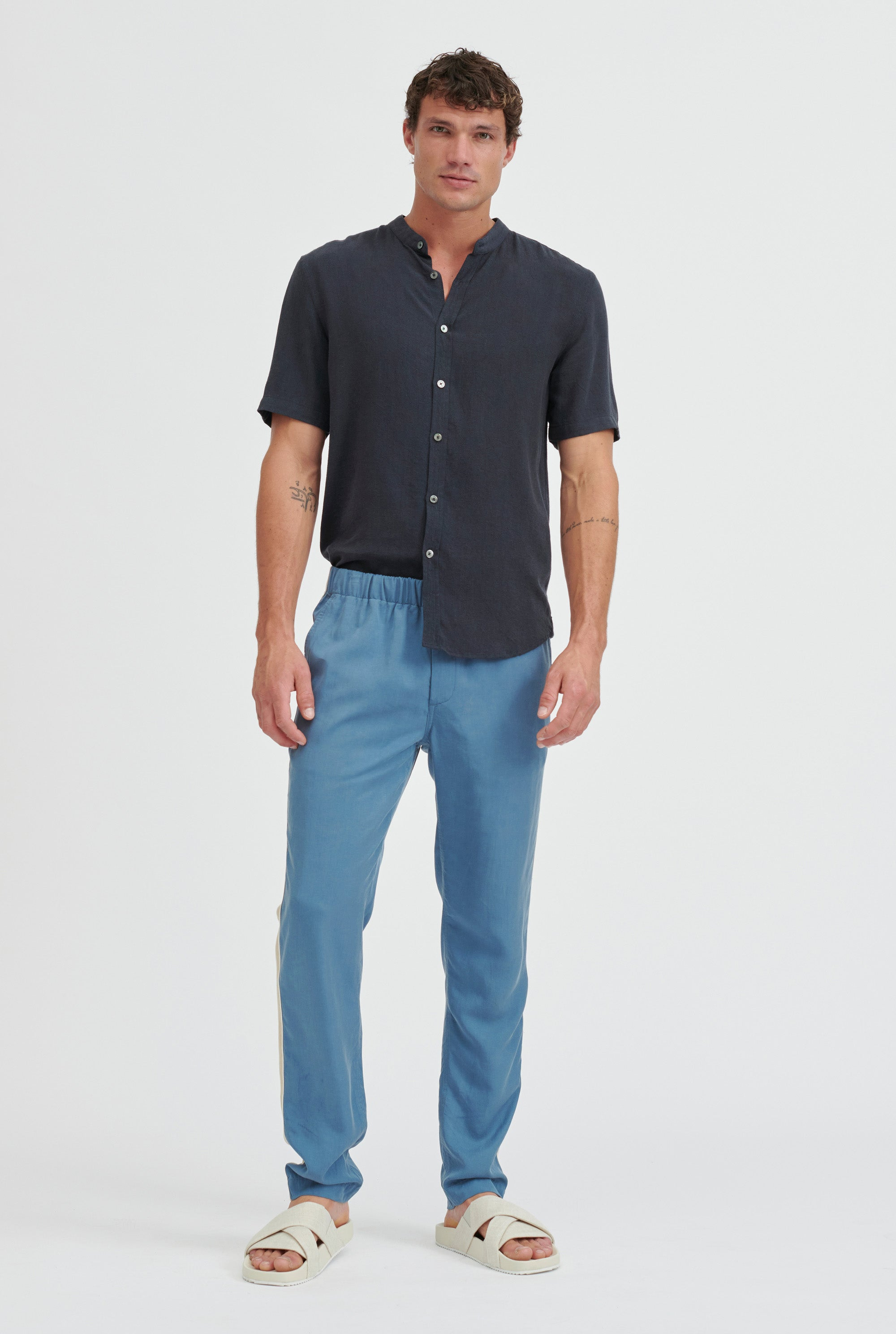 Tencel Lounge Chino - Ocean Blue/Summer Tape