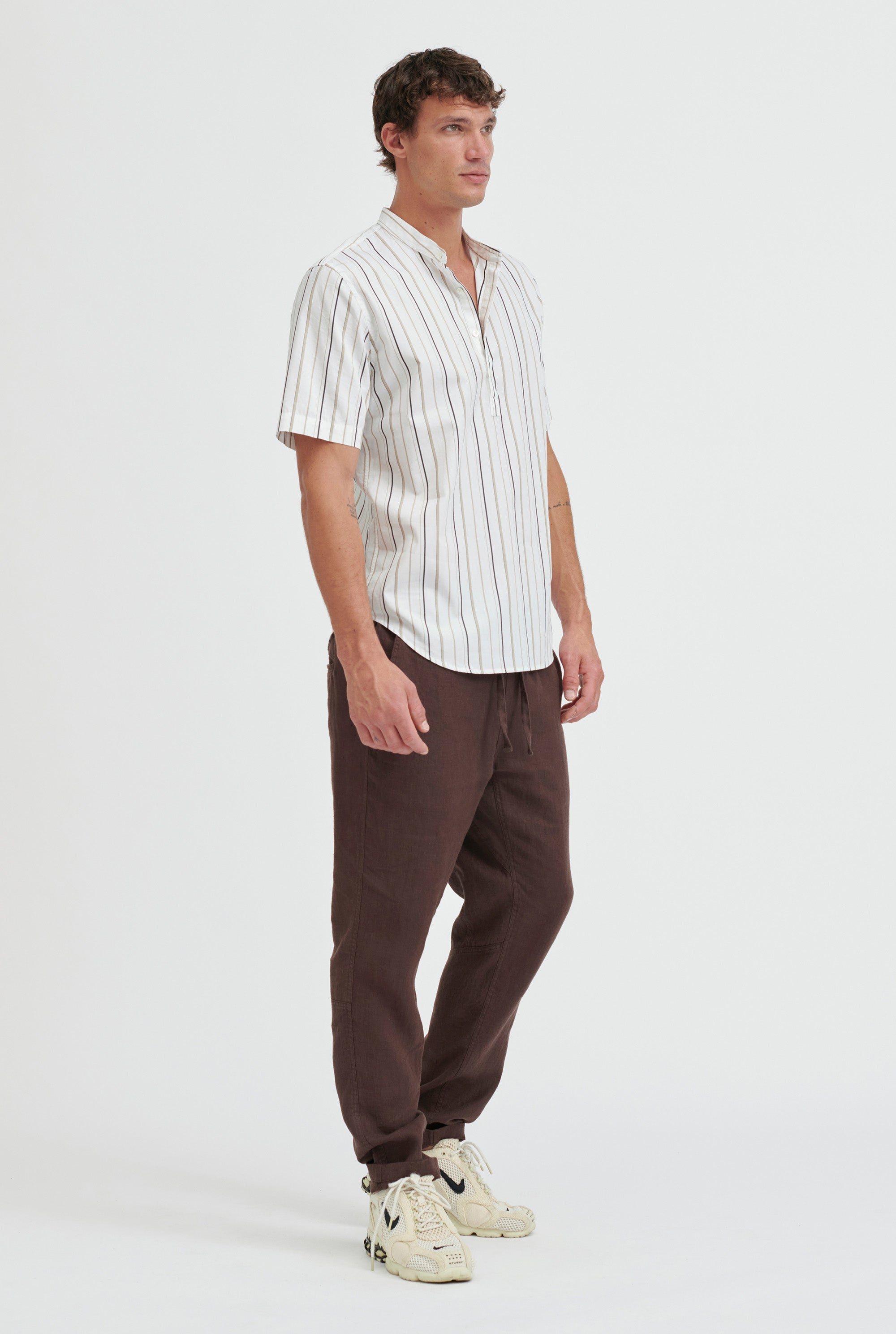 Short Sleeve Cotton Stripe Pop Over - White/Taupe Stripe