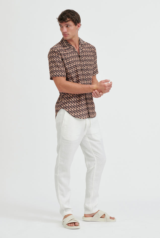 Short Sleeve Silk Camp Collar Shirt - Cacao Block Print