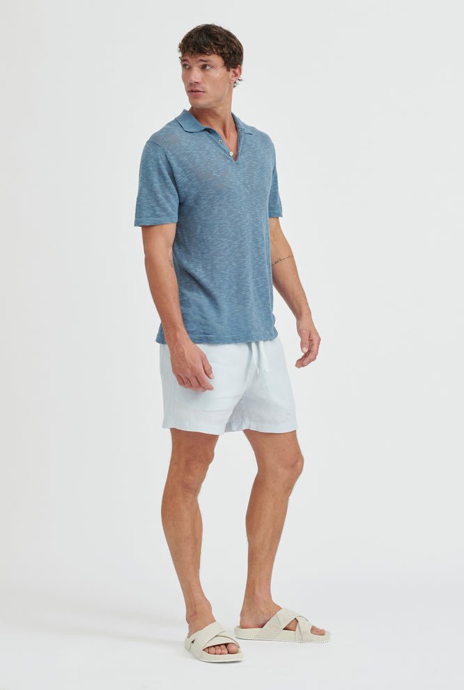 Knitted Polo - Ocean Blue