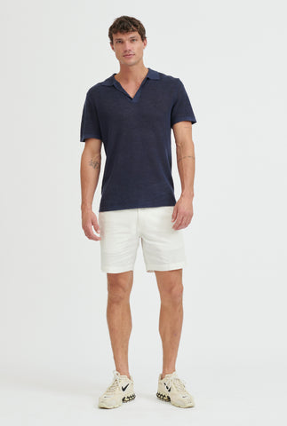 Rib Knit Open Neck Polo - Navy