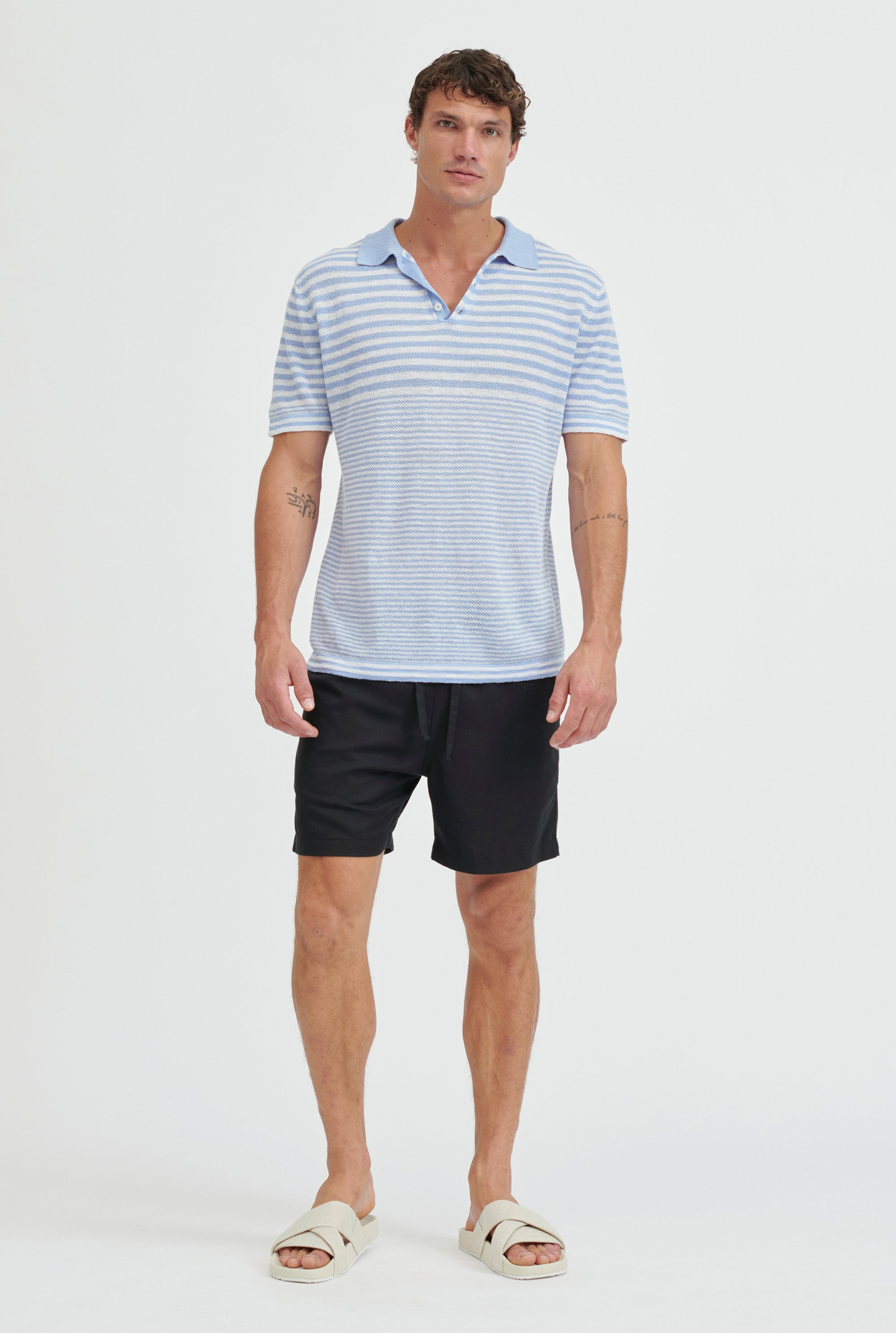Knitted Pique Polo - Light Blue/White Stripe