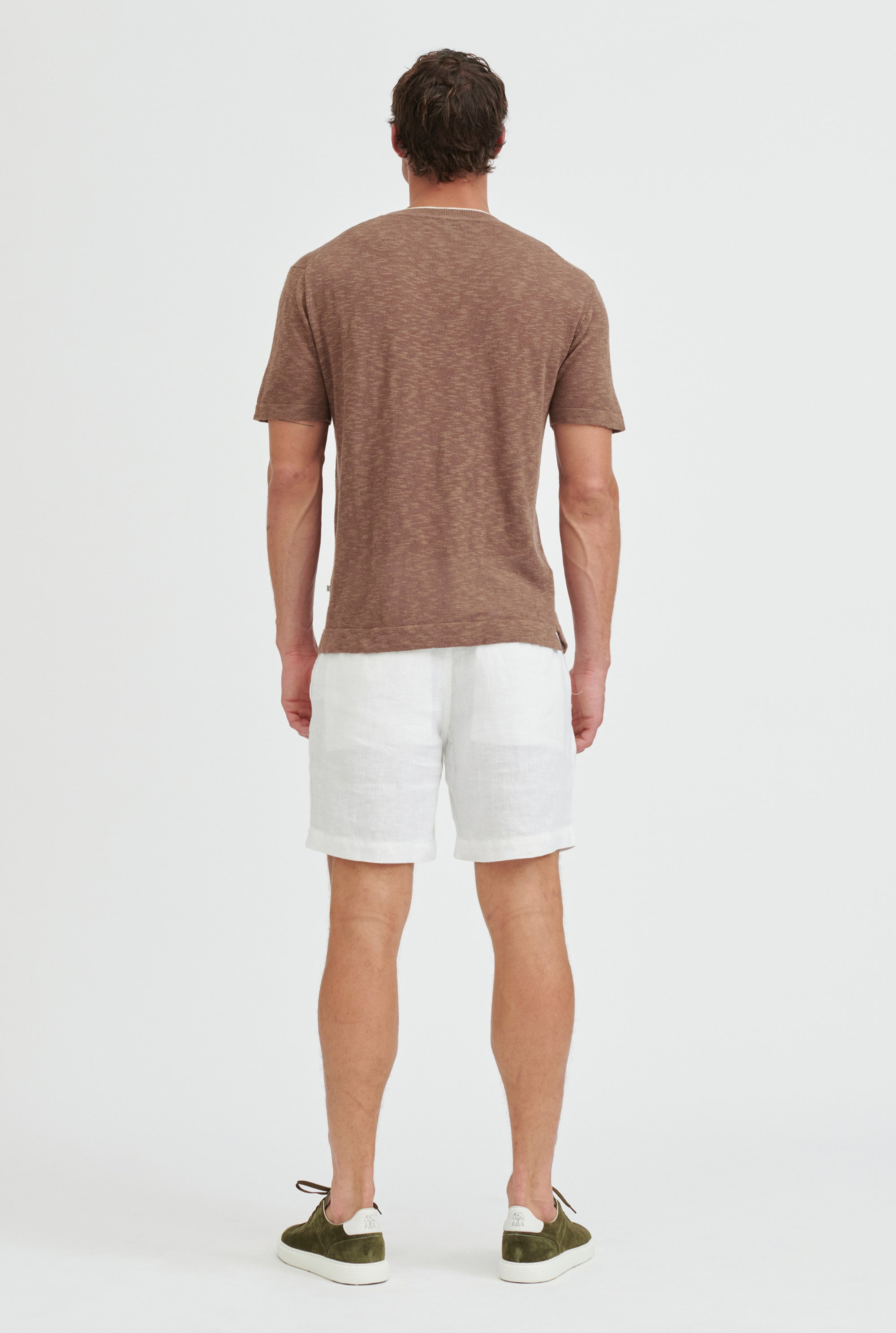 Knitted Slub T-Shirt - Cacao/Sand Trim