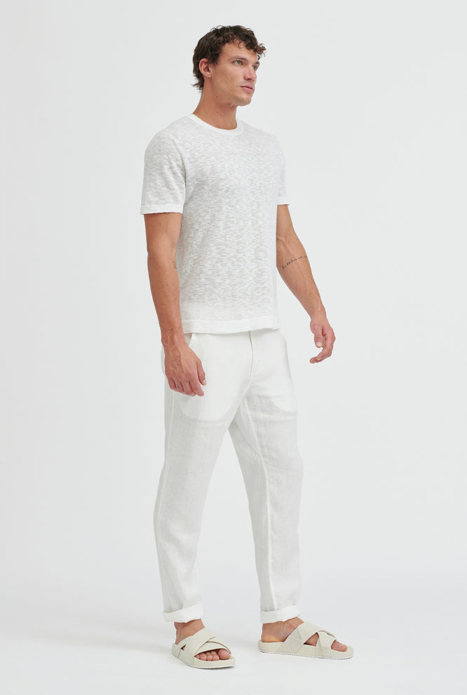 Knitted Slub T-Shirt - White/Sand Tip